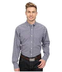 Ariat Wrinkle Free Oakley Shirt Navy Men's Long Sleeve Button Up