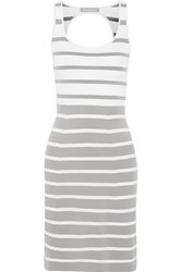Richard Nicoll Striped Stretch Knit Dress Gray