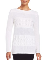 Lafayette 148 New York Cable Knit Cashmere Sweater White