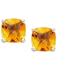 Macy's 14K Gold Earrings Cushion Cut Citrine Stud Earrings 1 3 4 Ct. T.W.