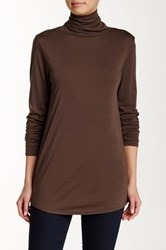 Lilla P Pima Jersey Turtleneck Tee Brown