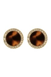 Fossil Tortoise Shell And Crystal Embellished Stud Earrings Brown