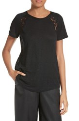 Rebecca Taylor Women's Short Sleeve Linen And Lace Tee
