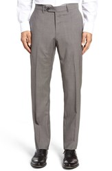 John W. Nordstromr Men's Nordstrom Flat Front Houndstooth Wool Trousers Taupe