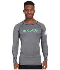 Rip Curl Corp Long Sleeve Rashguard Black Heather Men's Swimwear