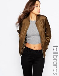 New Look Tall Sateen Bomber Green
