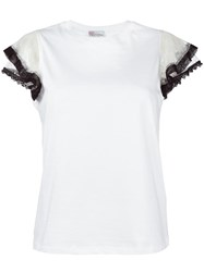 Red Valentino Sheer Ruffled Sleeves T Shirt White