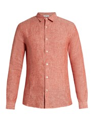Orlebar Brown Morton Lightweight Linen Shirt Coral