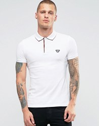 Armani Jeans Polo Shirt With Back Collar Print In White Slim Fit White
