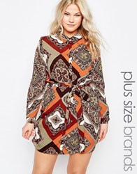 Ax Paris Plus Shirt Dress In Scarf Print Multi