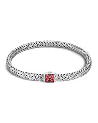 John Hardy Classic Chain Sterling Silver Lava Extra Small Bracelet With Red Sapphire Clasp Red Silver