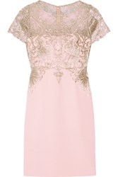Marchesa Notte Metallic Embroidered Tulle And Stretch Silk Dress Pastel Pink