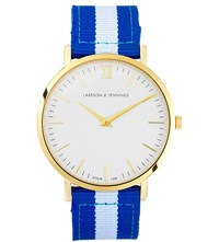 Larsson And Jennings Kulor Large Gold Plated Watch 40Mm Blue White