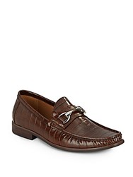 Saks Fifth Avenue Donato Crocodile Embossed Leather Loafers Brown Leather