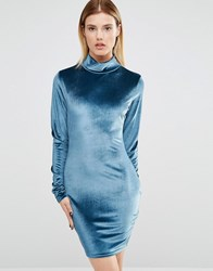 Club L High Neck Long Sleeve Dress In Crushed Velvet Teal Green
