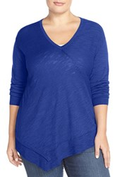 Sejour Plus Size Women's Long Sleeve Faux Wrap Front Pullover Blue Mazarine