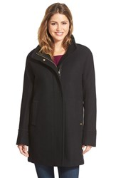 Petite Women's Ellen Tracy Wool Blend Stadium Coat Black