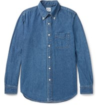 Orslow Button Down Collar Denim Shirt Mid Denim