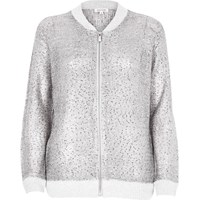 River Island Womens Silver Knit Bomber With Sequins