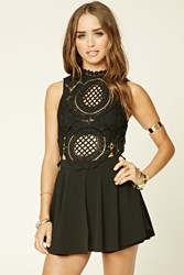 Forever 21 Semi Sheer Crochet Lace Romper Black