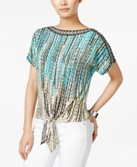 Jm Collection Printed Tie Front Top Only At Macy's Urban Aqua