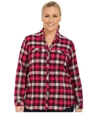 Columbia Plus Size Simply Put Ii Flannel Shirt Purple Dahlia Check Women's Long Sleeve Button Up Red