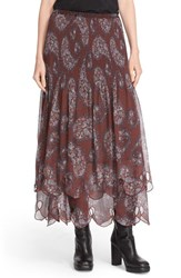 See By Chloe Women's Floral Paisley Print Tiered Skirt Fig