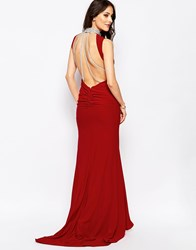 Forever Unique Austin Maxi Dress With Beaded Collar And Back Strap Detail Red