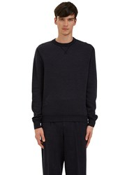 Ermenegildo Zegna Crew Neck Zigzag Knit Sweater Navy
