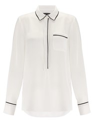 Adrianna Papell Pocket Blouse Black And Ivory