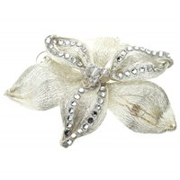 Colette Malouf Midnight Lily Mesh Snap Clip Silver