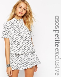 Asos Petite Exclusive High Neck Top In Bandana Print