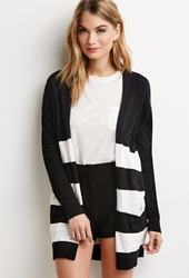 Forever 21 Rugby Striped Longline Cardigan Black Ivory