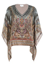 Camilla Embellished Silk Tunic Animal Prints