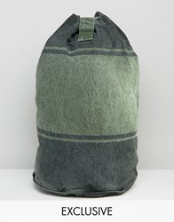 Reclaimed Vintage Duffle Backpack Overdyed Stripe Green