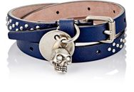 Alexander Mcqueen Studded Leather Wrap Bracelet With Skull Charm Blue