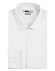 Dkny Slim Fit Natural Stretch Dress Shirt White