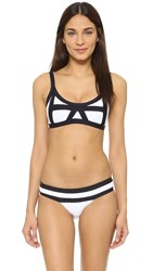 Pilyq Colorblock Halter Top White Black