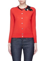 Marc Jacobs Sequin Bow Embellished Wool Cardigan Red