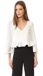 Cushnie Et Ochs Long Sleeve Ruffle Crop Top Soft White
