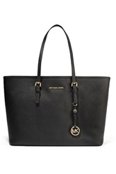 Michael Michael Kors Jet Set Travel Textured Leather Tote Black