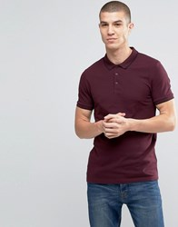 Asos Muscle Pique Polo Shirt With Tipped Collar In Oxblood Oxblood Red