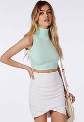 Missguided High Neck Ribbed Jersey Sleeveless Crop Top Mint Green