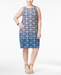 Charter Club Plus Size Geo Print Shift Dress Only At Macy's Aviary Blue Combo