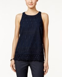 Alfani Petite Sleeveless Lace Top Only At Macy's Modern Navy