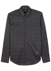 Fendi Cat Print Cotton Shirt Black