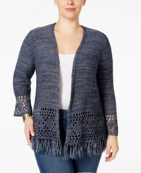 Styleandco. Style Co. Plus Size Fringe Cardigan Only At Macy's Industrial Blue