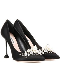 Miu Miu Embellished Satin Pumps Black