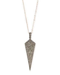 Wide Diamond Dagger Necklace With Rose Gold Chain 18'L Siena Jewelry