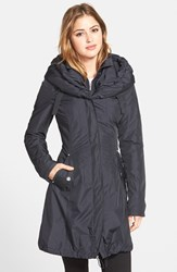 Petite Women's Laundry By Shelli Segal Pillow Collar Raincoat With Detachable Quilted Hooded Bib Insert Mystic Blue